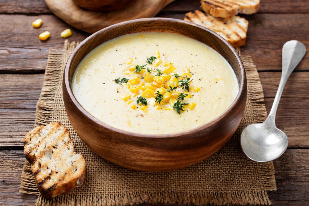 Krémová kukuricová polievka stuniakom